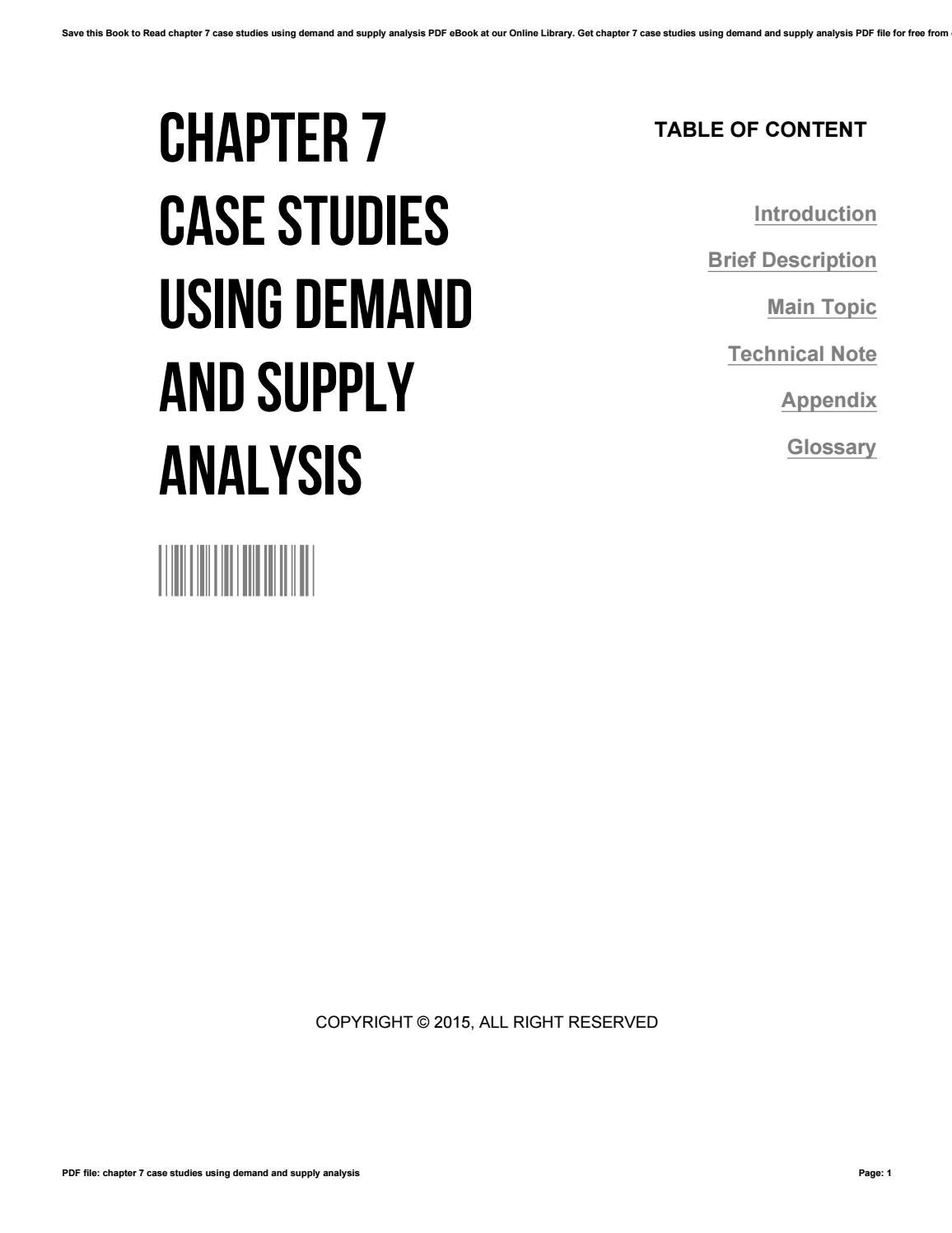 Chapter 7 case studies using demand and supply analysis by
