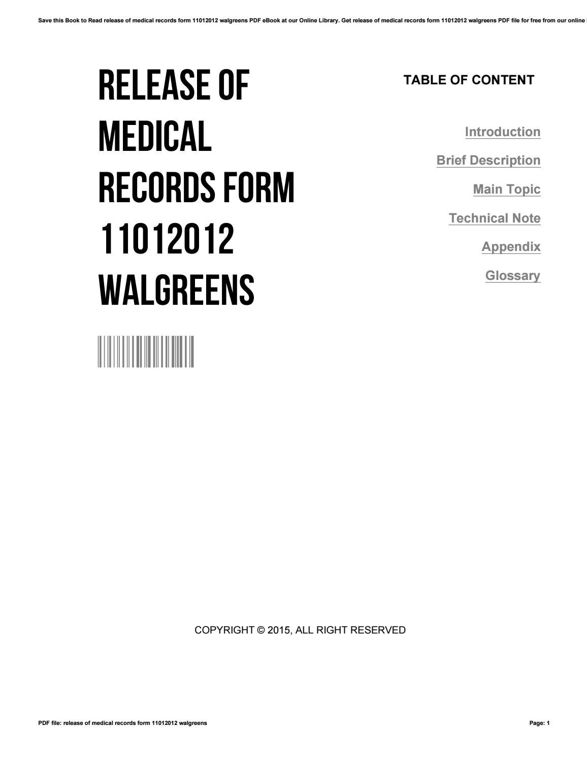 Release of medical records form 11012012 walgreens by