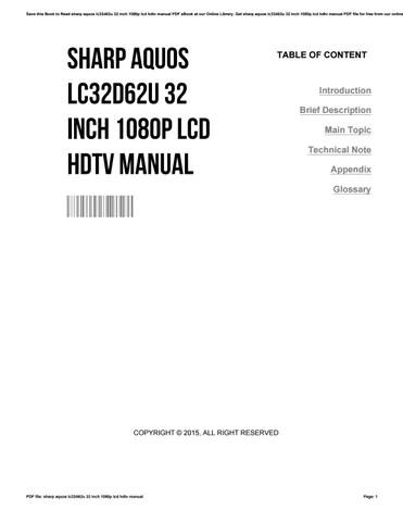 Sharp aquos lc32d62u 32 inch 1080p lcd hdtv manual by