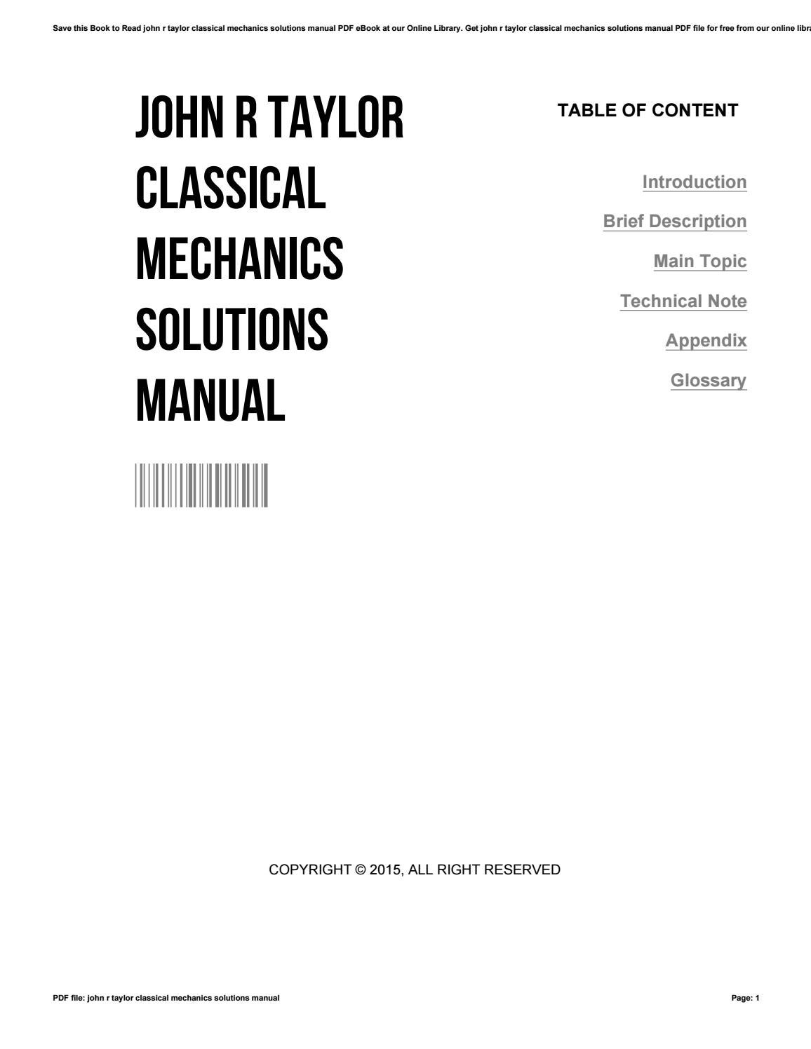 John r taylor classical mechanics solutions manual by