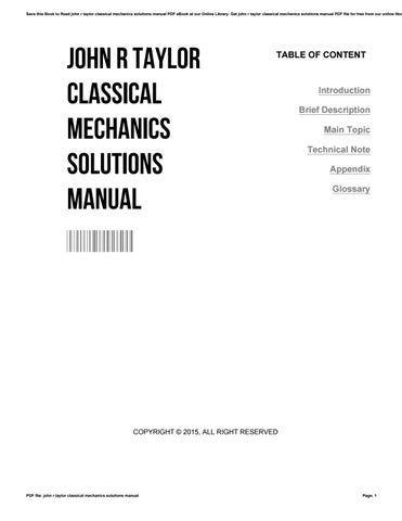 John r taylor classical mechanics solutions manual by