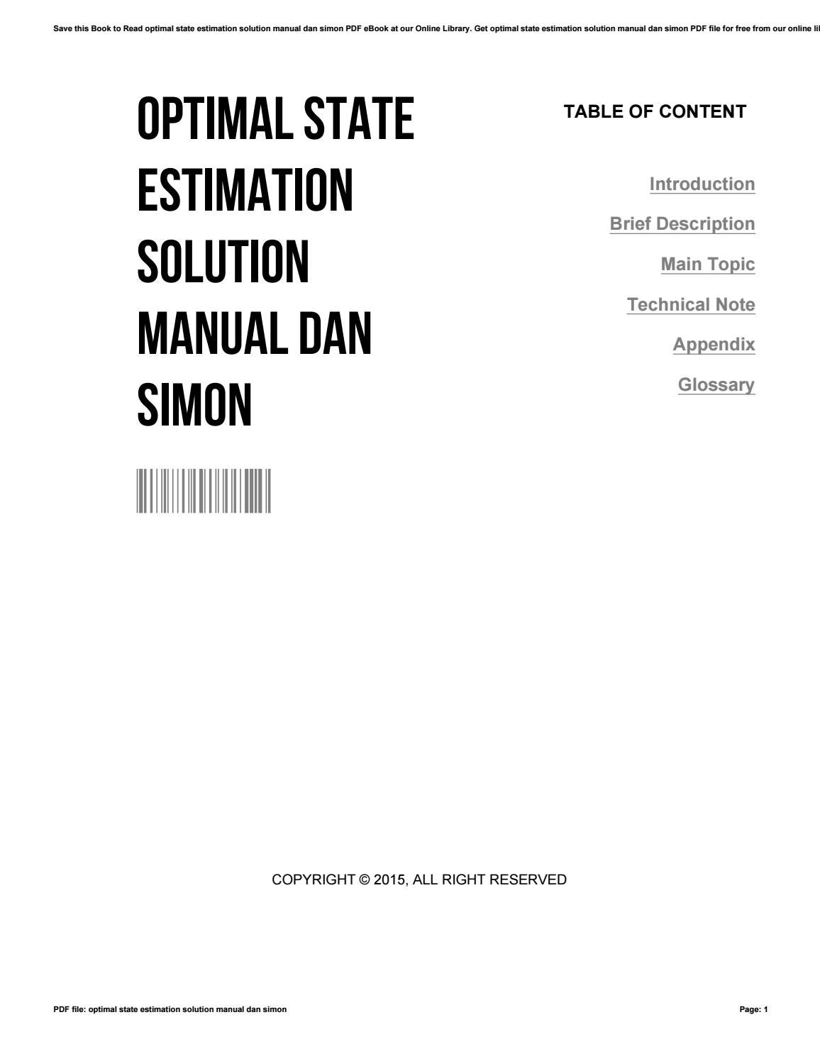 Optimal state estimation solution manual dan simon by