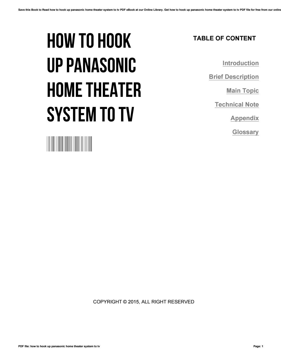How to hook up panasonic home theater system to tv by