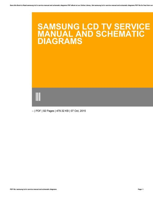 small resolution of samsung lcd tv service manual and schematic diagrams by freealtgen17 issuu