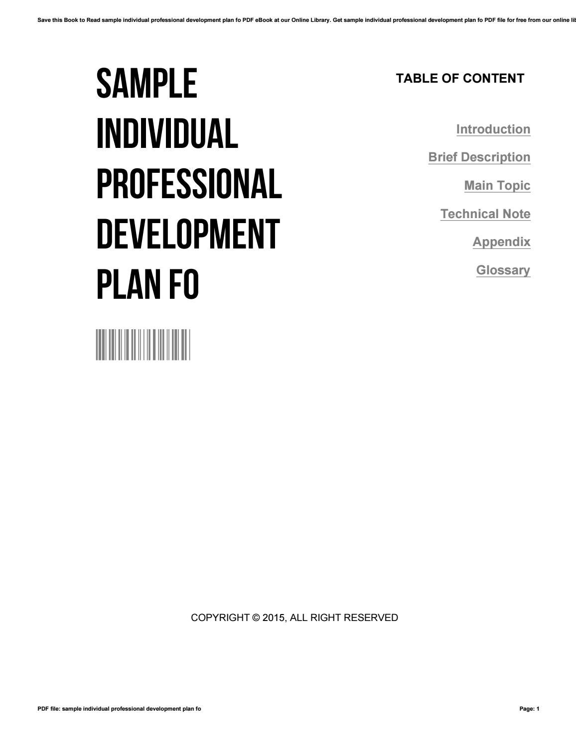 Sample individual professional development plan fo by