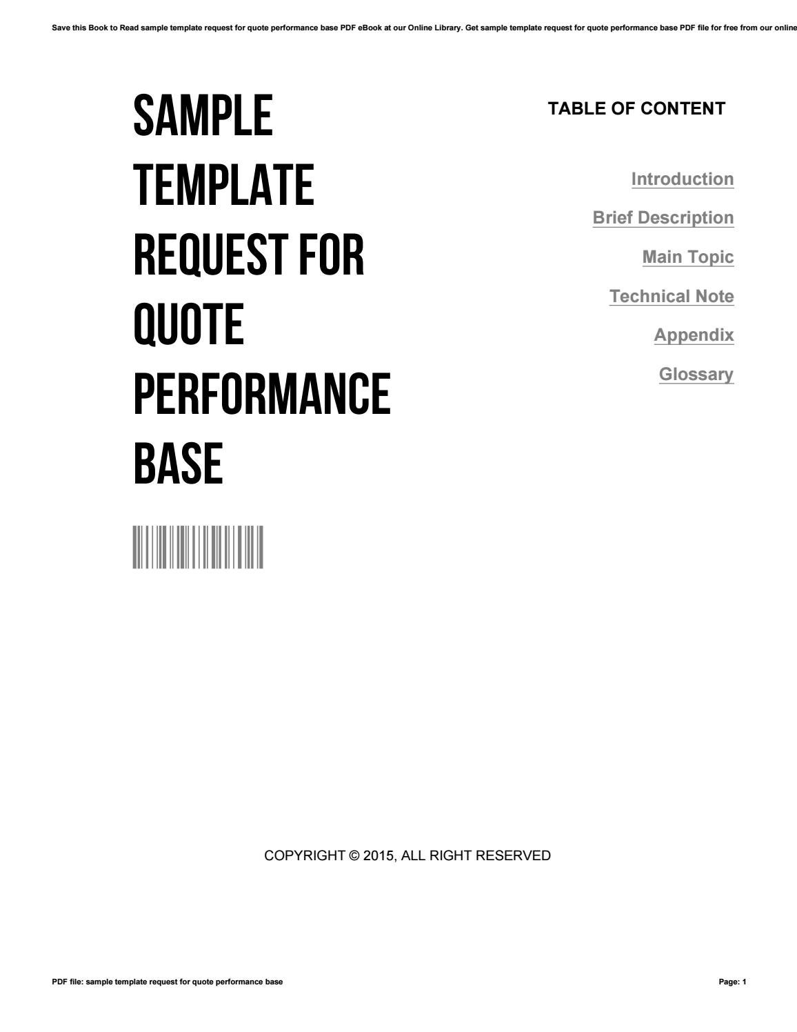 Sample template request for quote performance base by
