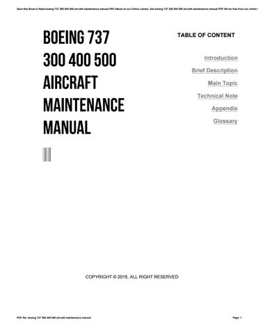 Boeing 737 300 400 500 aircraft maintenance manual by
