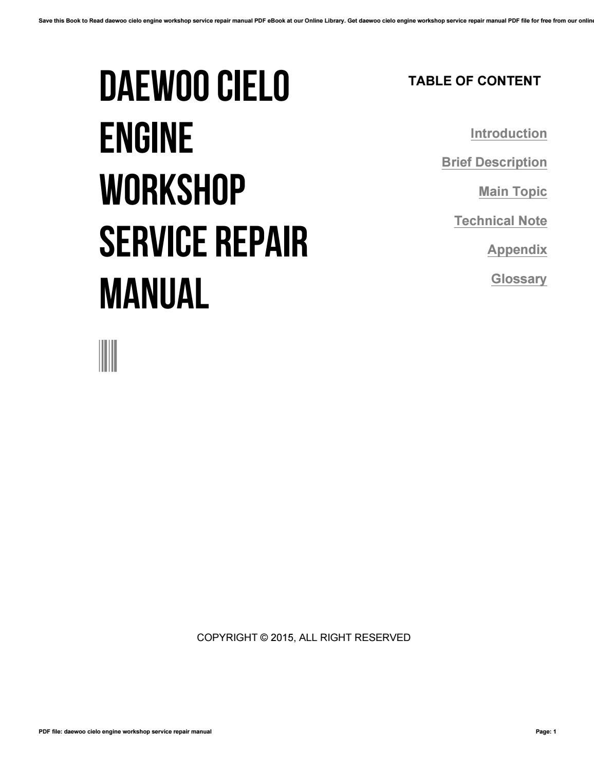 hight resolution of daewoo cielo workshop manual free download wiring library rh 1 yoobi de daewoo cielo workshop manual