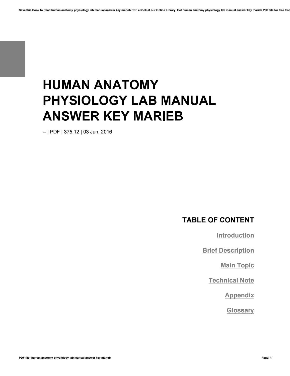 Human anatomy physiology lab manual answer key marieb by