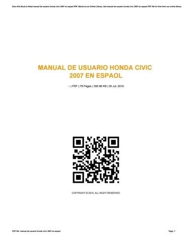Manual de usuario honda civic 2007 en espaol by