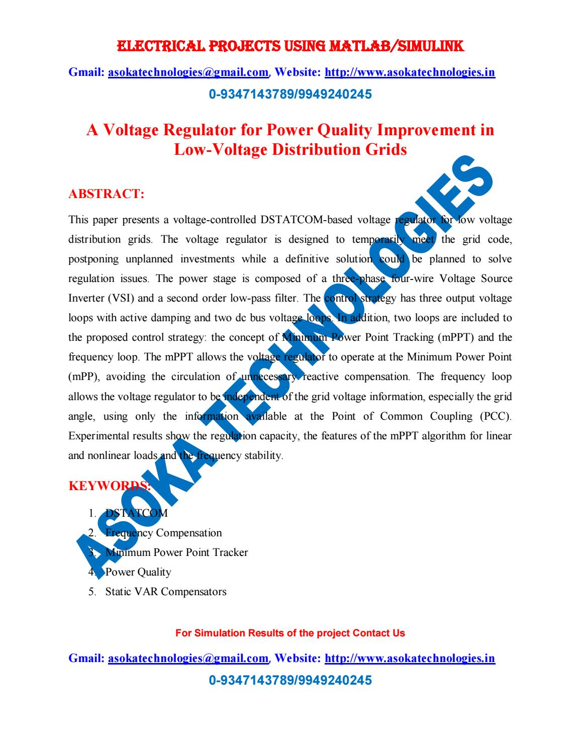 hight resolution of a voltage regulator for power quality improvement in low voltage distribution grids