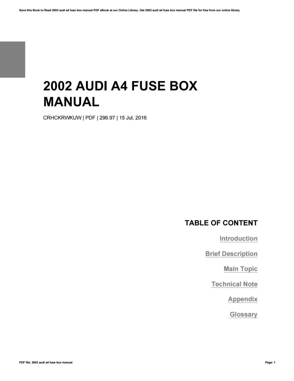 medium resolution of fuse box in audi a4 2002