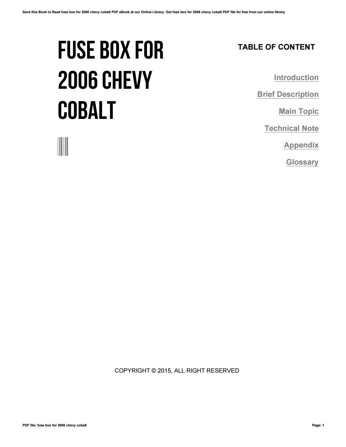 2006 Chevrolet Cobalt Wiring Harnes