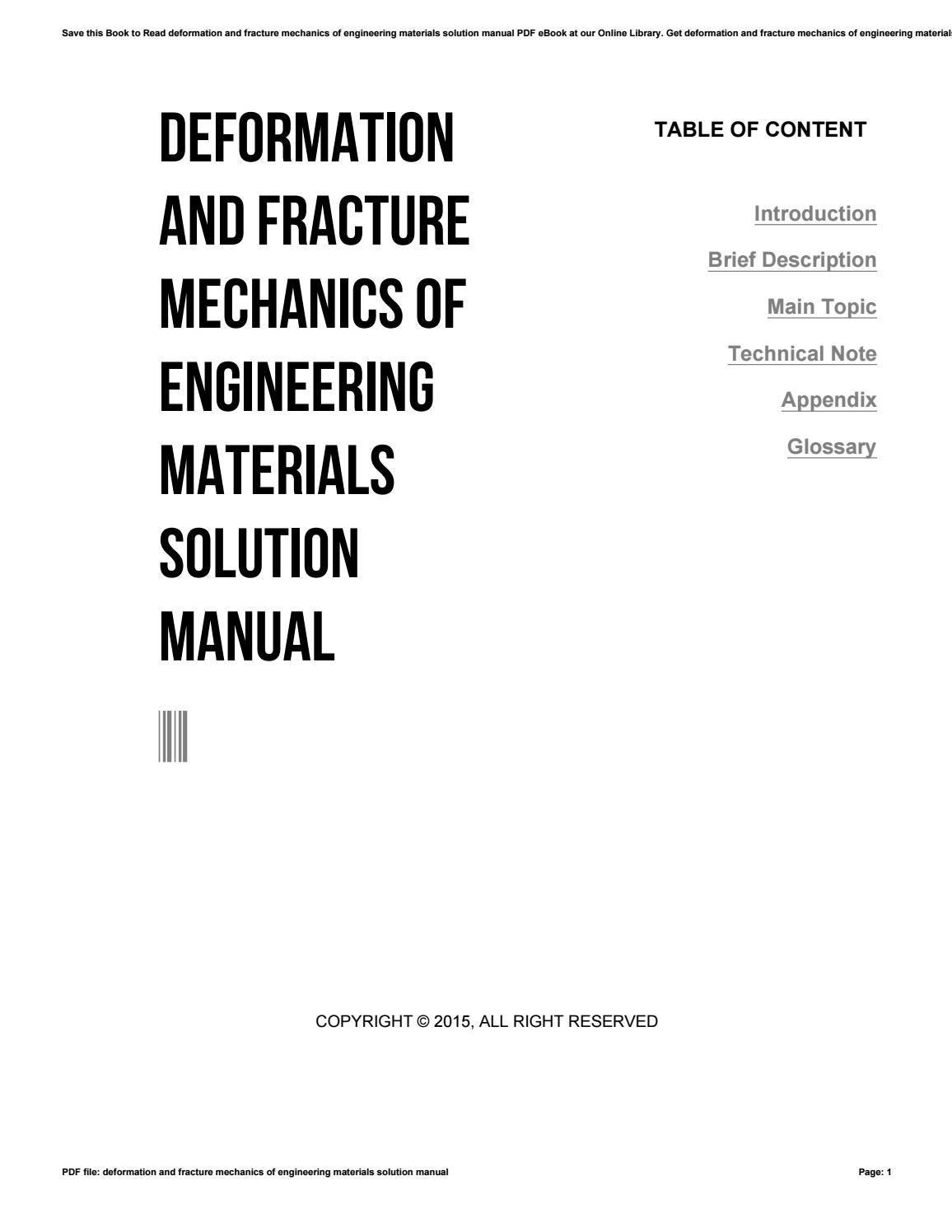 Deformation and fracture mechanics of engineering