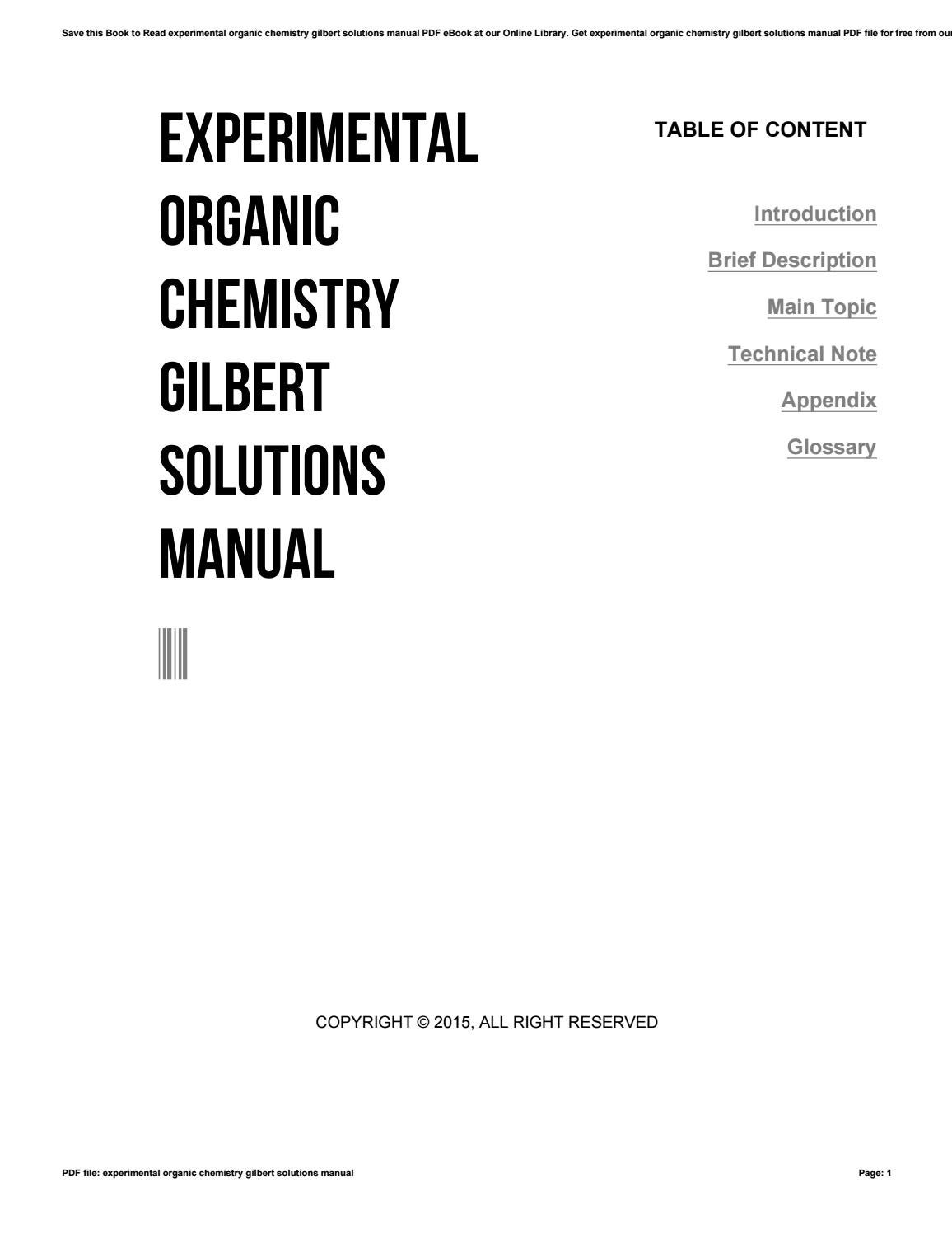 Experimental organic chemistry gilbert solutions manual by