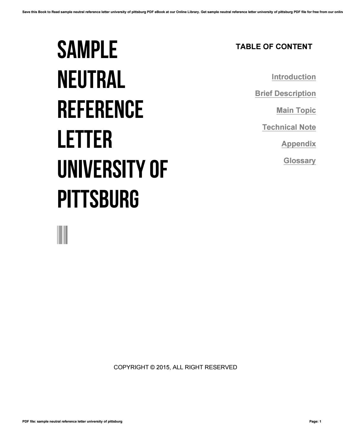 Sample neutral reference letter university of pittsburg by