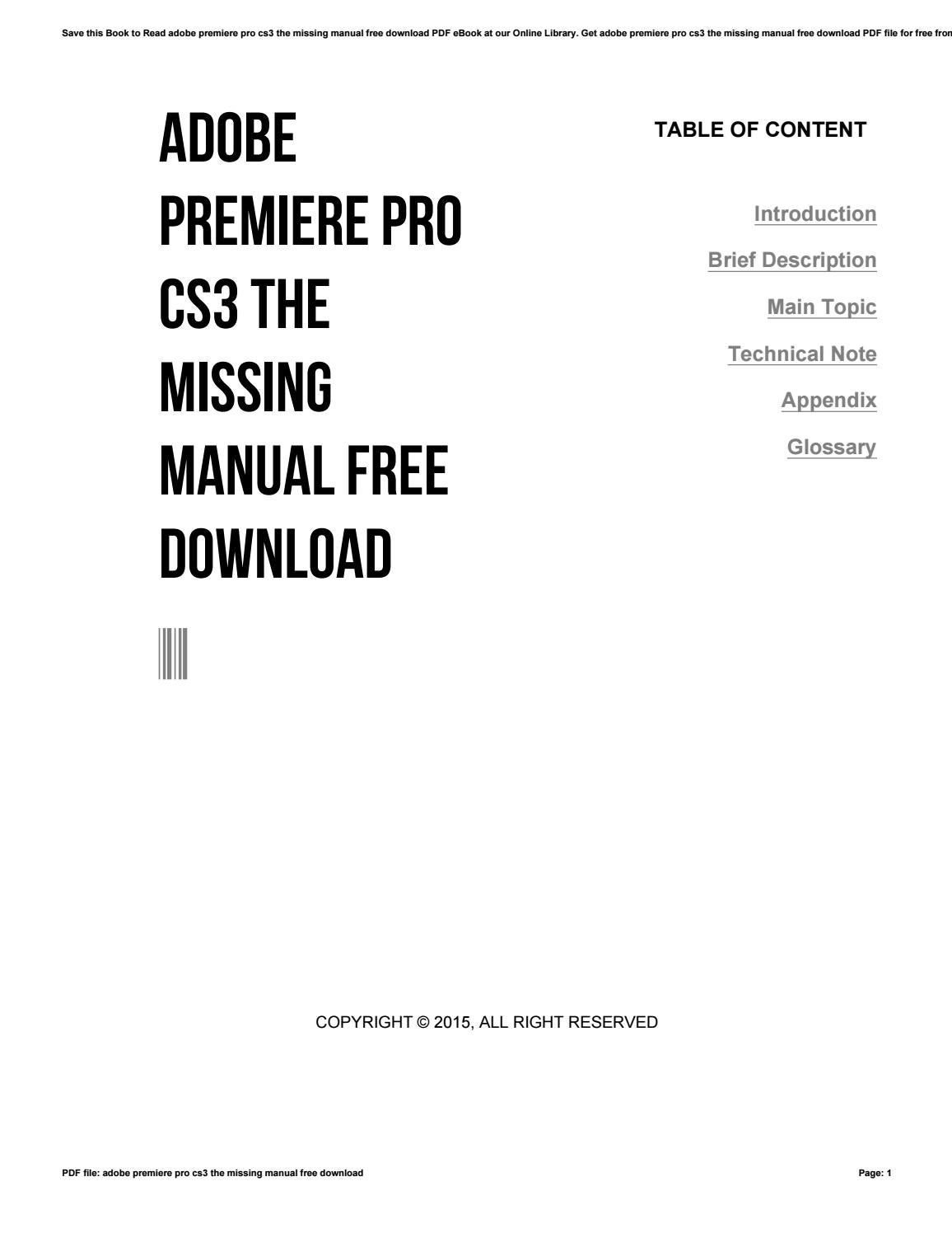 Adobe premiere pro cs3 the missing manual free download by