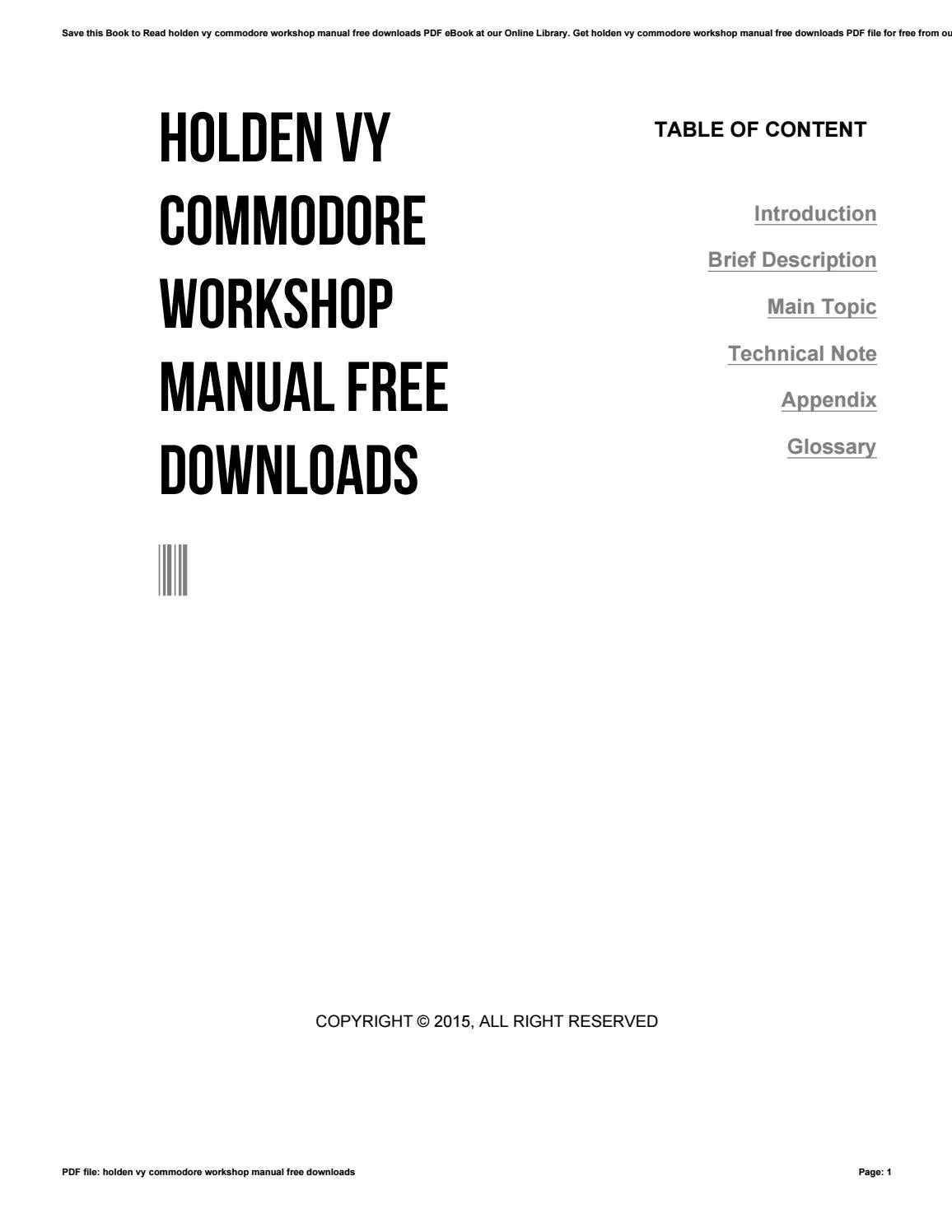 Holden vy commodore workshop manual free downloads by