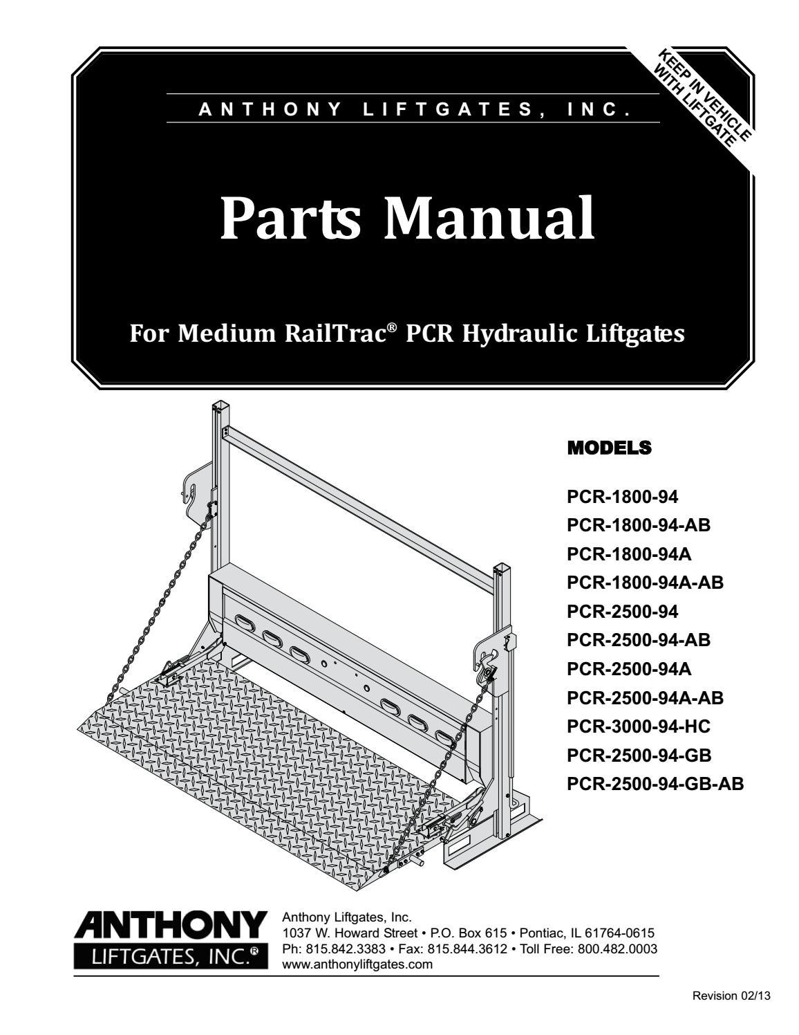 hight resolution of anthony medium railtrac pcr liftgate parts manual