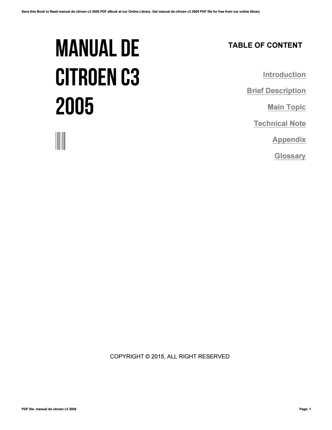 05 Citroen C3 Owners Manual Ebooks Pdf Free Download