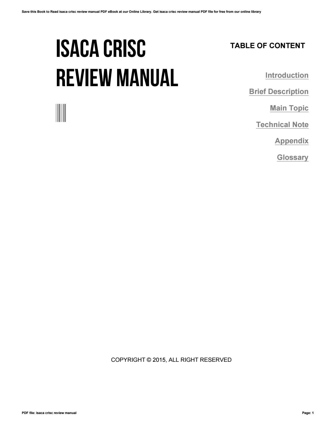 Crisc Review Manual 6th Edition Pdf Free Download