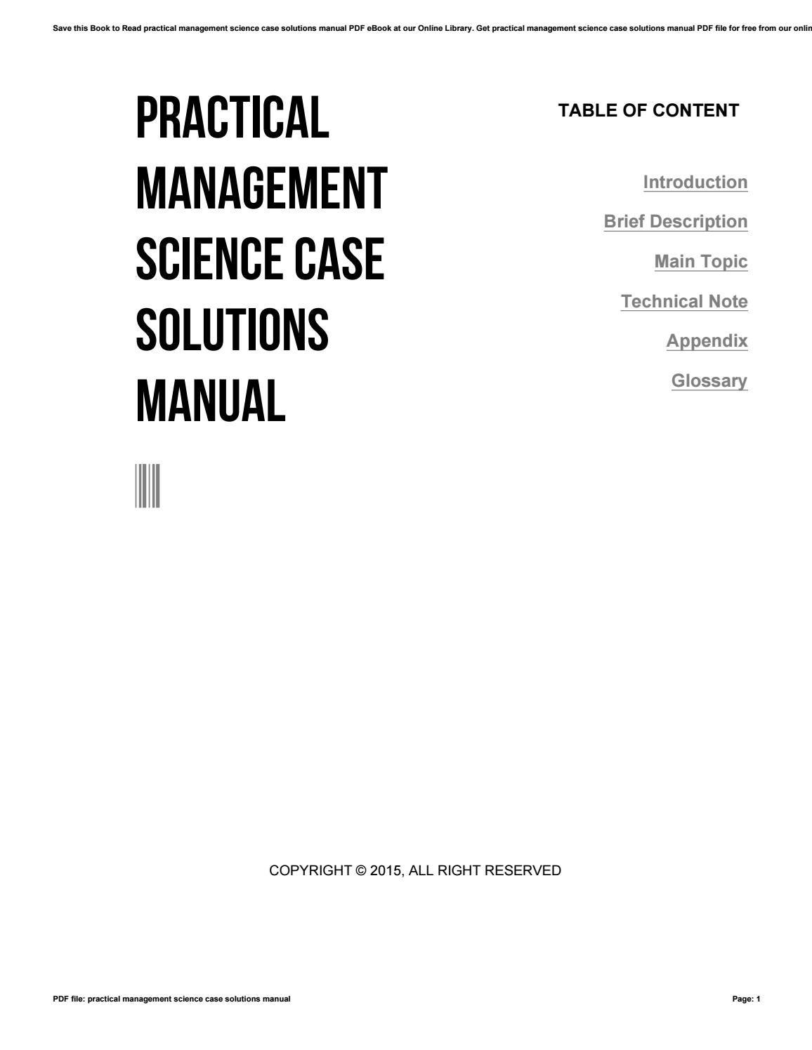 Practical management science case solutions manual by