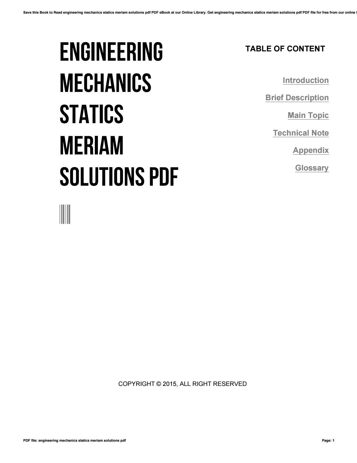 Engineering mechanics statics meriam solutions pdf by