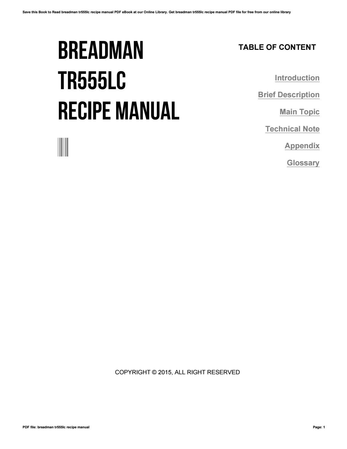 BREADMAN TR555 MANUAL PDF