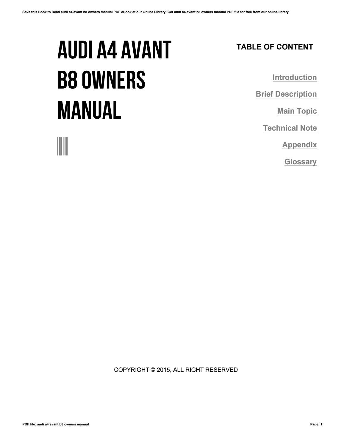 Bedienungsanleitung Audi A4 B8 Avant