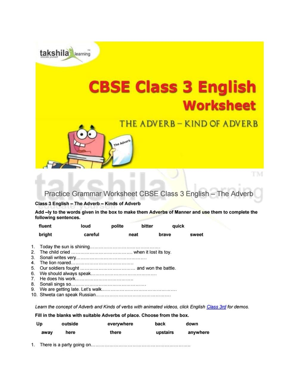 medium resolution of Practice grammar worksheet for cbse class 3 english the adverb by Takshila  learning   Online Classes - issuu
