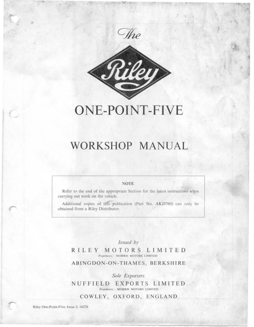 medium resolution of riley one point five workshop manual