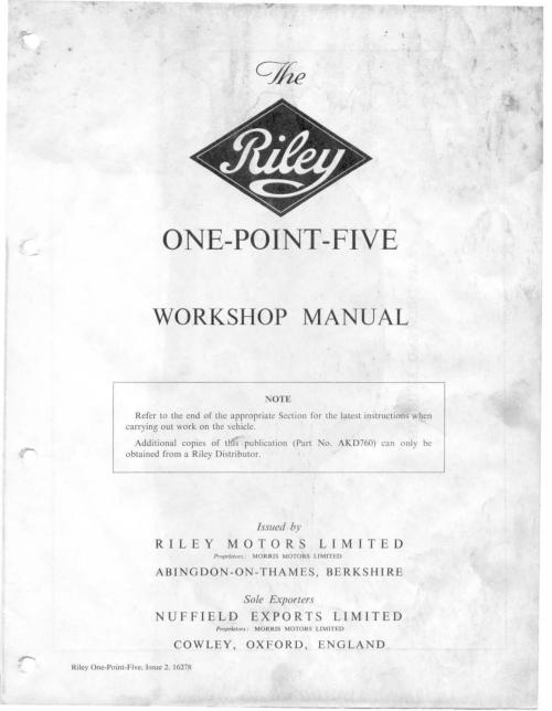 small resolution of riley one point five workshop manual