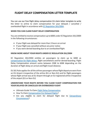 Flight Compensation Letter Template by Claim Flights  Issuu
