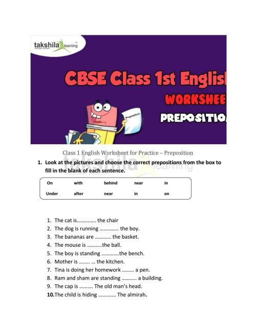 small resolution of Class 1 english worksheet for practice preposition by Takshila learning    Online Classes - issuu