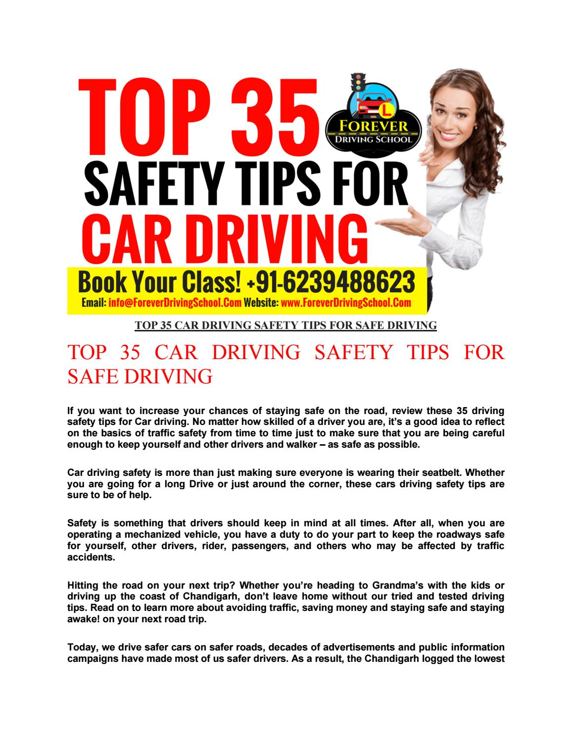 Top 35 car driving safety tips for safe driving by Hitesh Gaur - Issuu