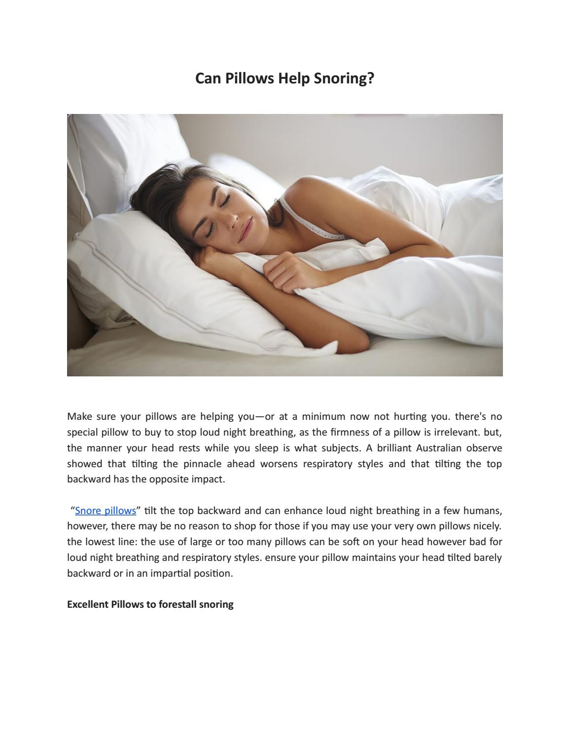 can pillows help snoring by