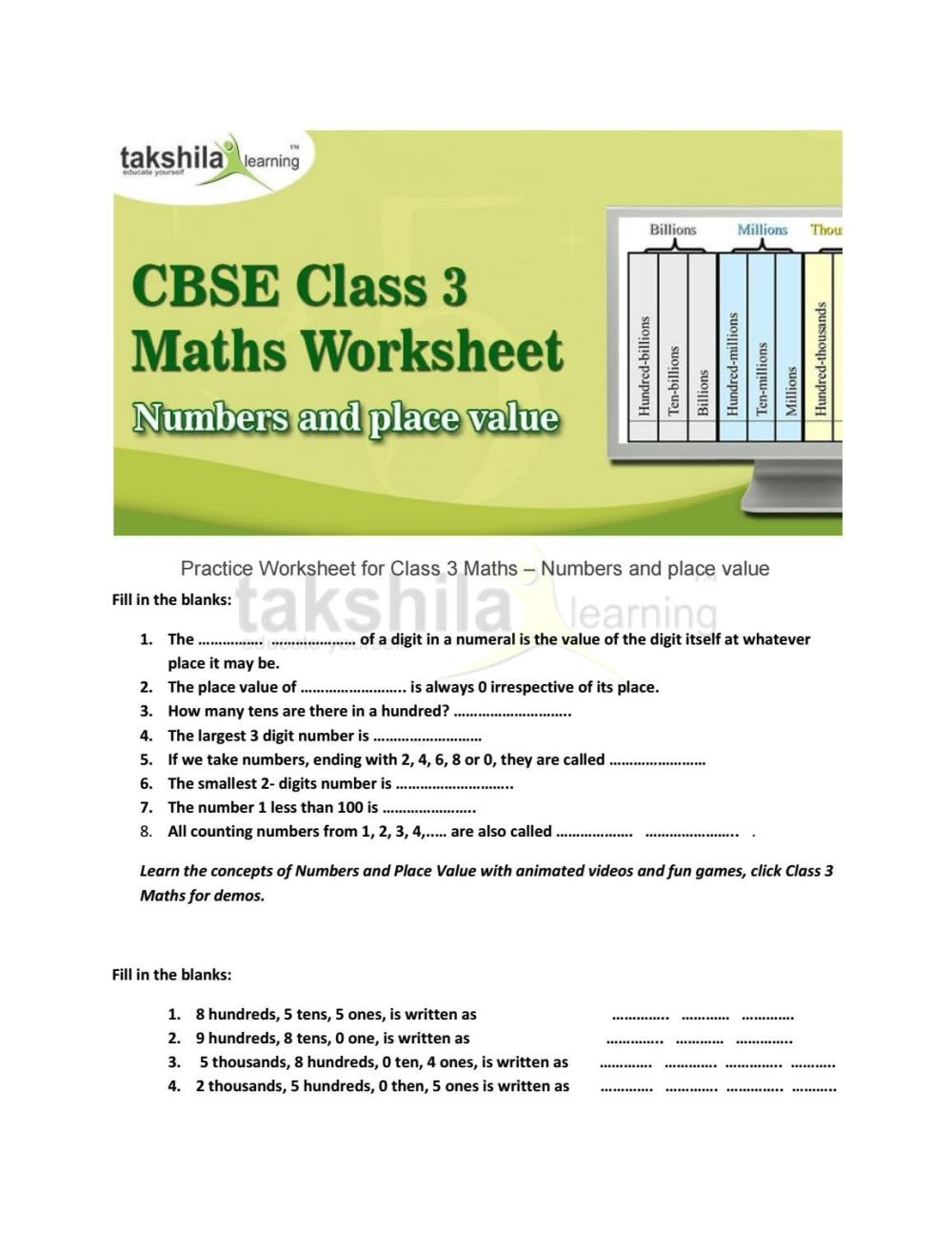 medium resolution of Cbse class 3 maths worksheet numbers and place value by Takshila learning    Online Classes - issuu