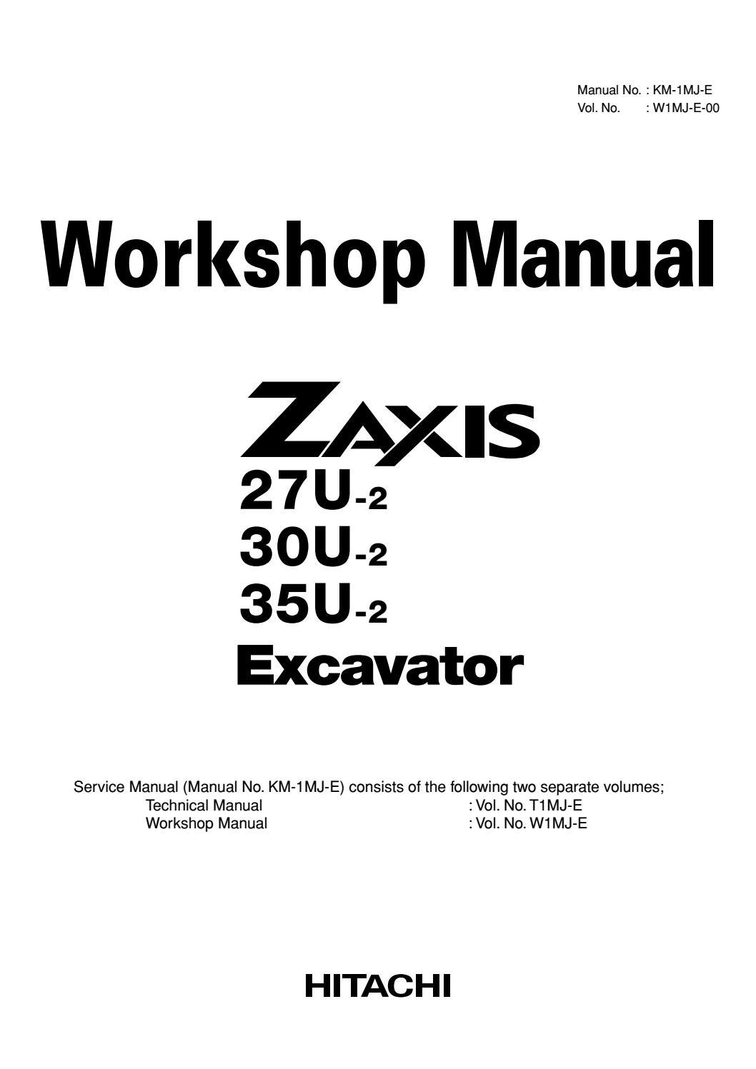 Hitachi zaxis 30u 2 excavator service repair manual by