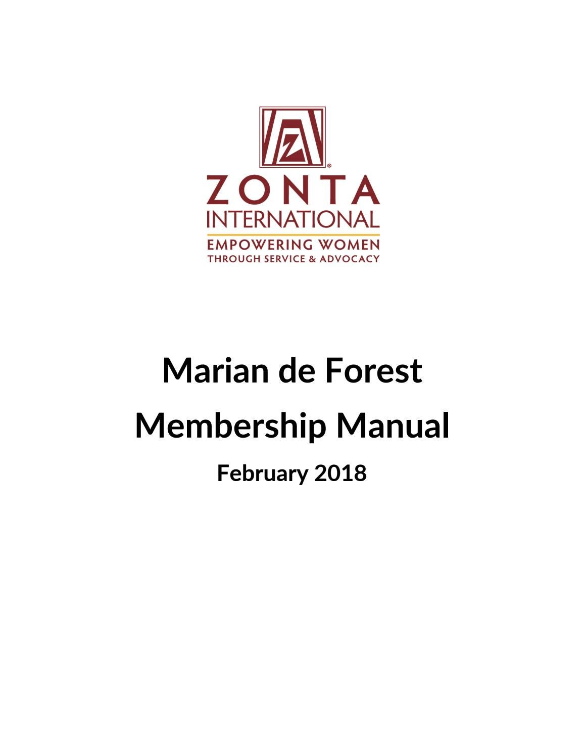 Marian de Forest Membership Manual by Zonta International