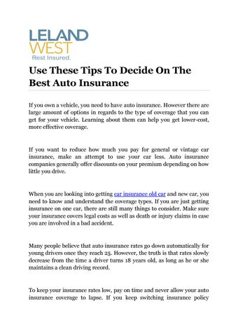Use These Tips To Decide On The Best Auto Insurance By Antique Car Insurance Issuu