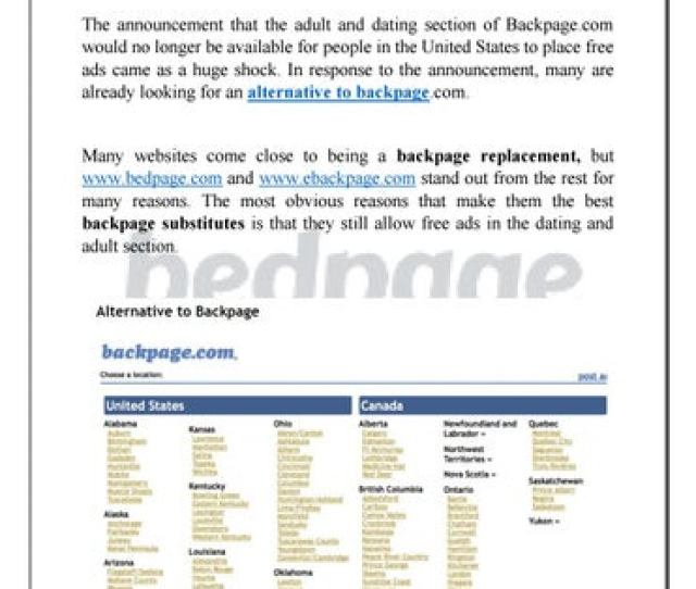 Alternative To Backpage The Announcement That The Adult And Dating Section Of Backpage Com Would No Longer Be Available For People In The United States To