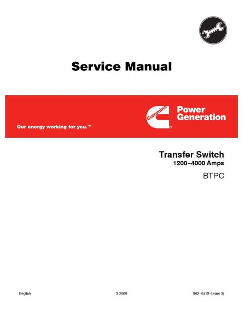 small resolution of cummins onan btpc transfer switch 1200 4000 amperes service repair manual