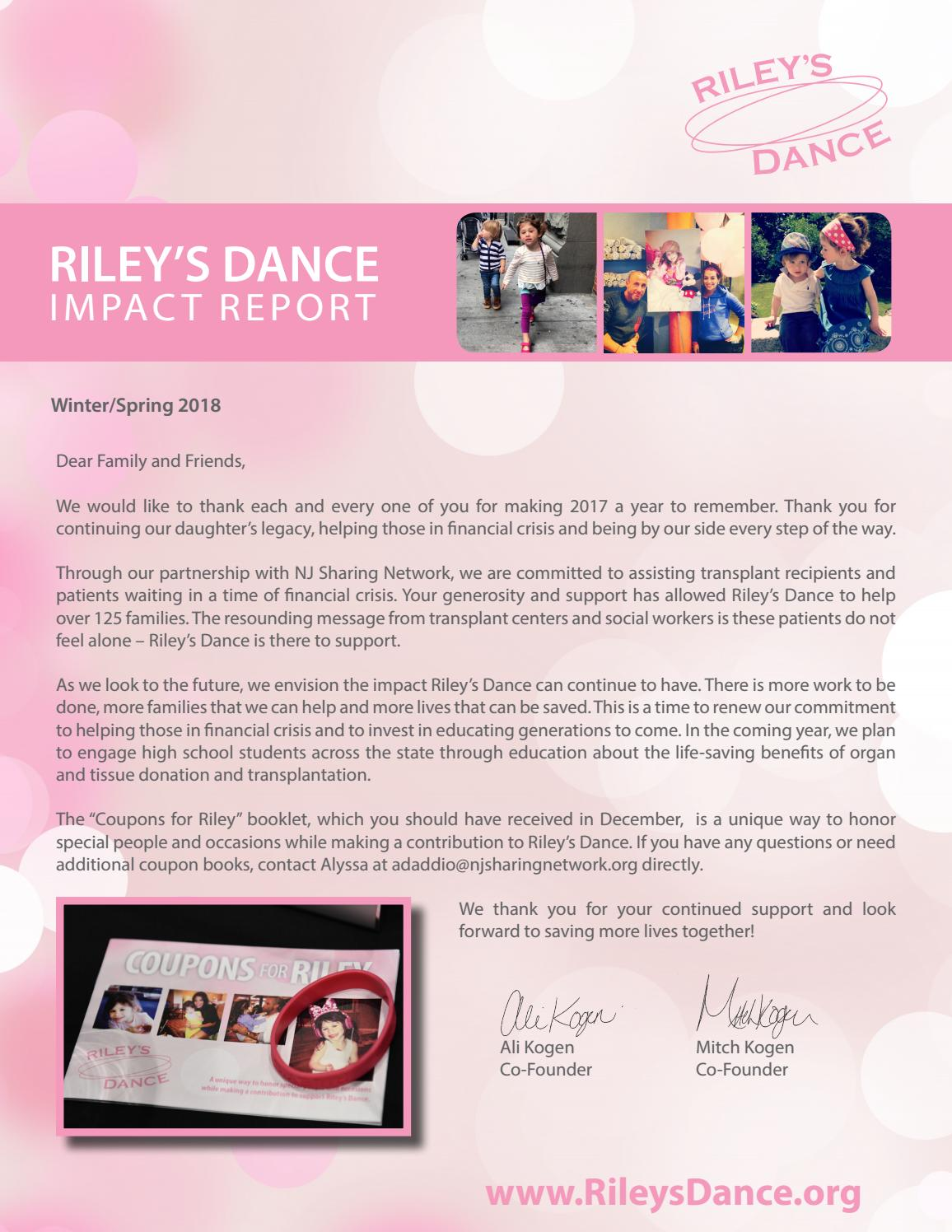 Transplant Social Worker Cover Letter Riley S Dance Newsletter Winter Spring 2018 By Nj Sharing