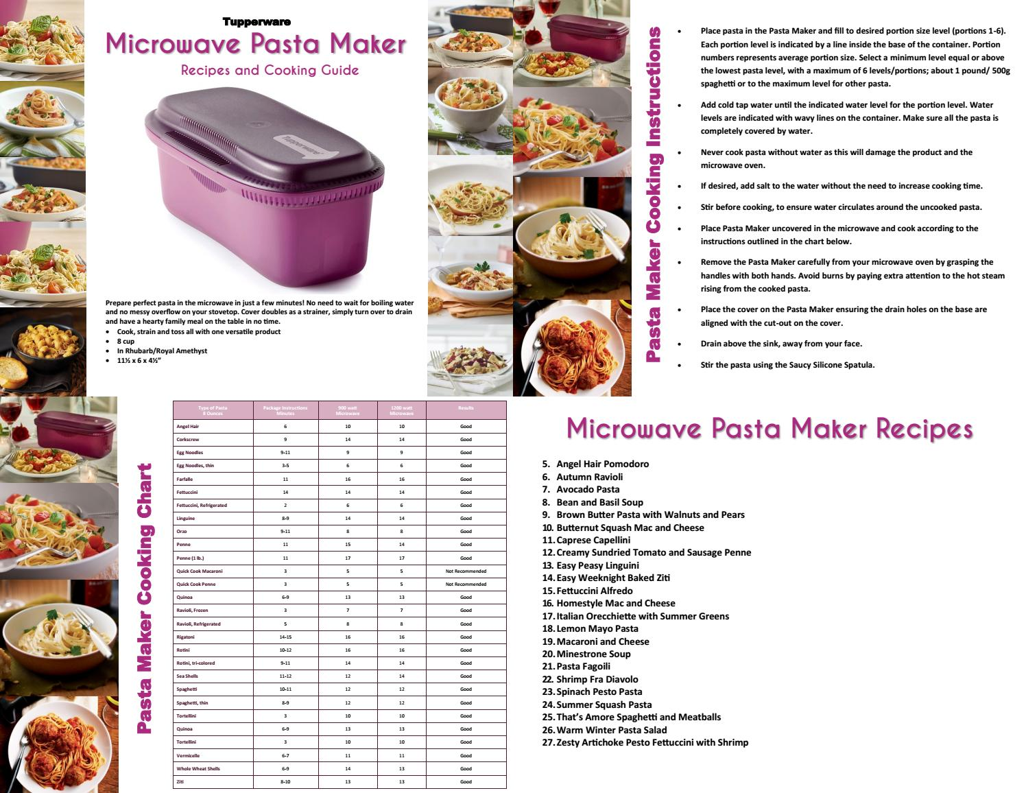 tupperware pasta maker recipes and