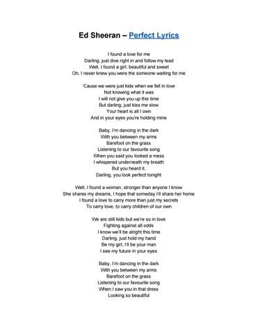 Ed Sheeran Perfect Parole : sheeran, perfect, parole, Lyrics, Center:, Perfect, Sheeran