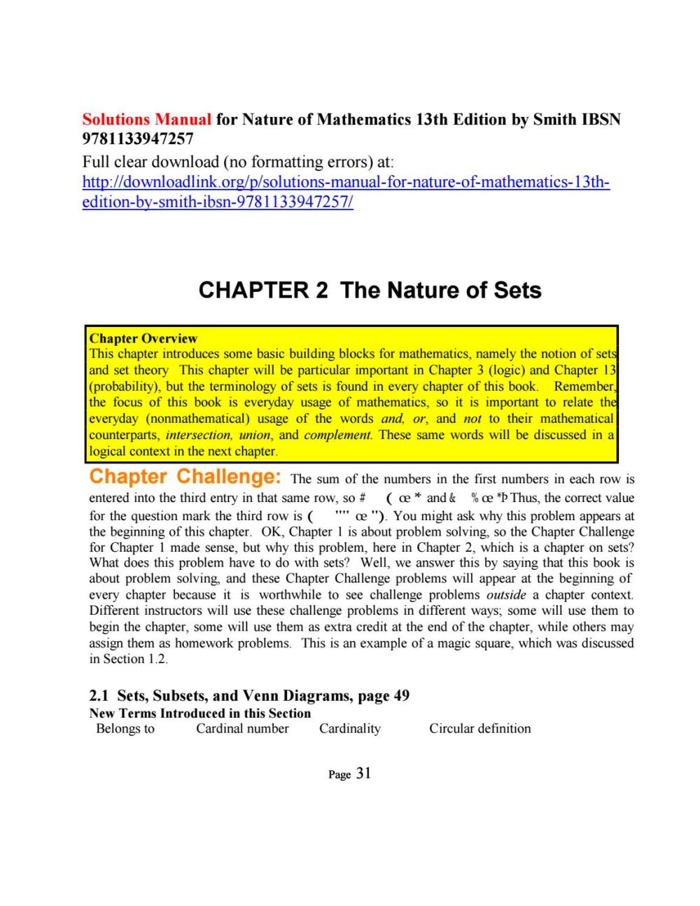 medium resolution of solutions manual for nature of mathematics 13th edition by smith ibsn 9781133947257