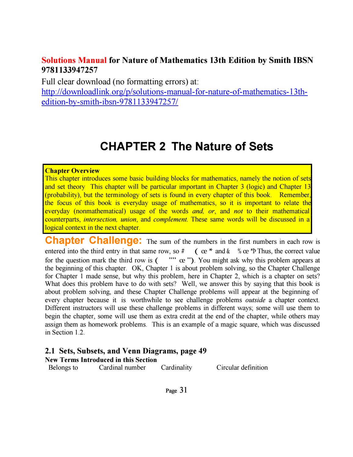 hight resolution of solutions manual for nature of mathematics 13th edition by smith ibsn 9781133947257