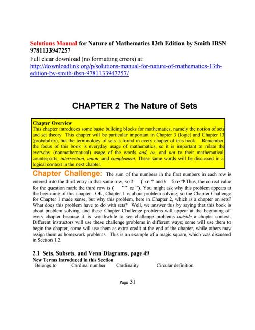 small resolution of solutions manual for nature of mathematics 13th edition by smith ibsn 9781133947257