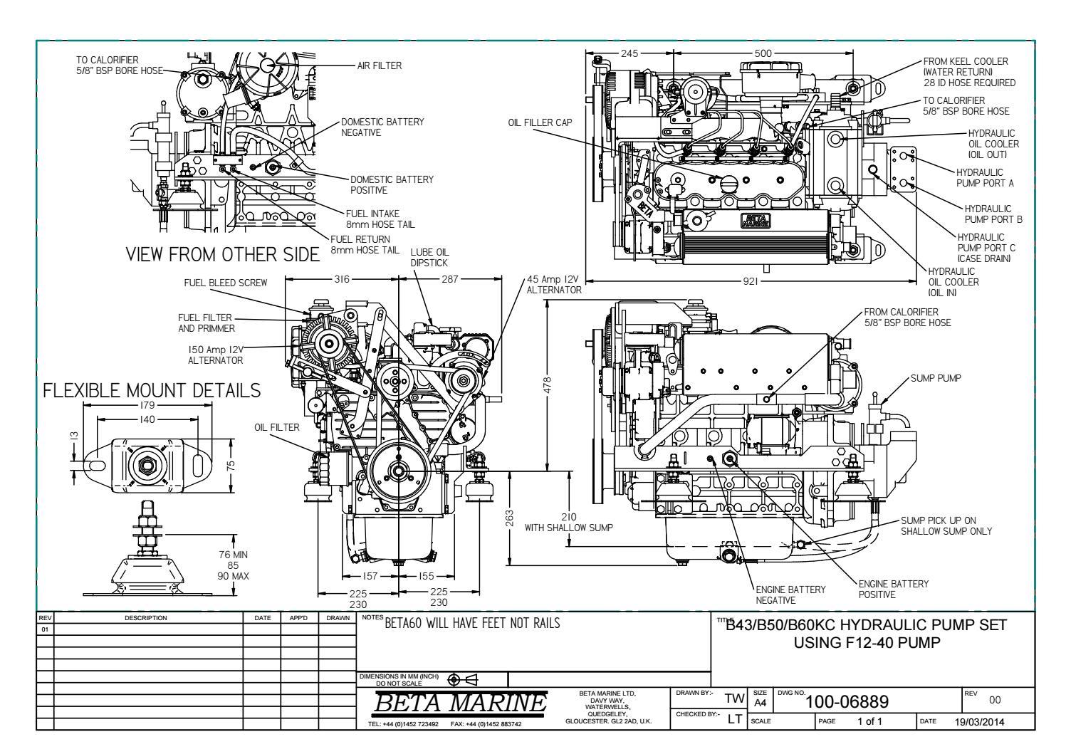 B43, B50 & B60 KC Hydraulic Pump F1240 100-06889 by Beta