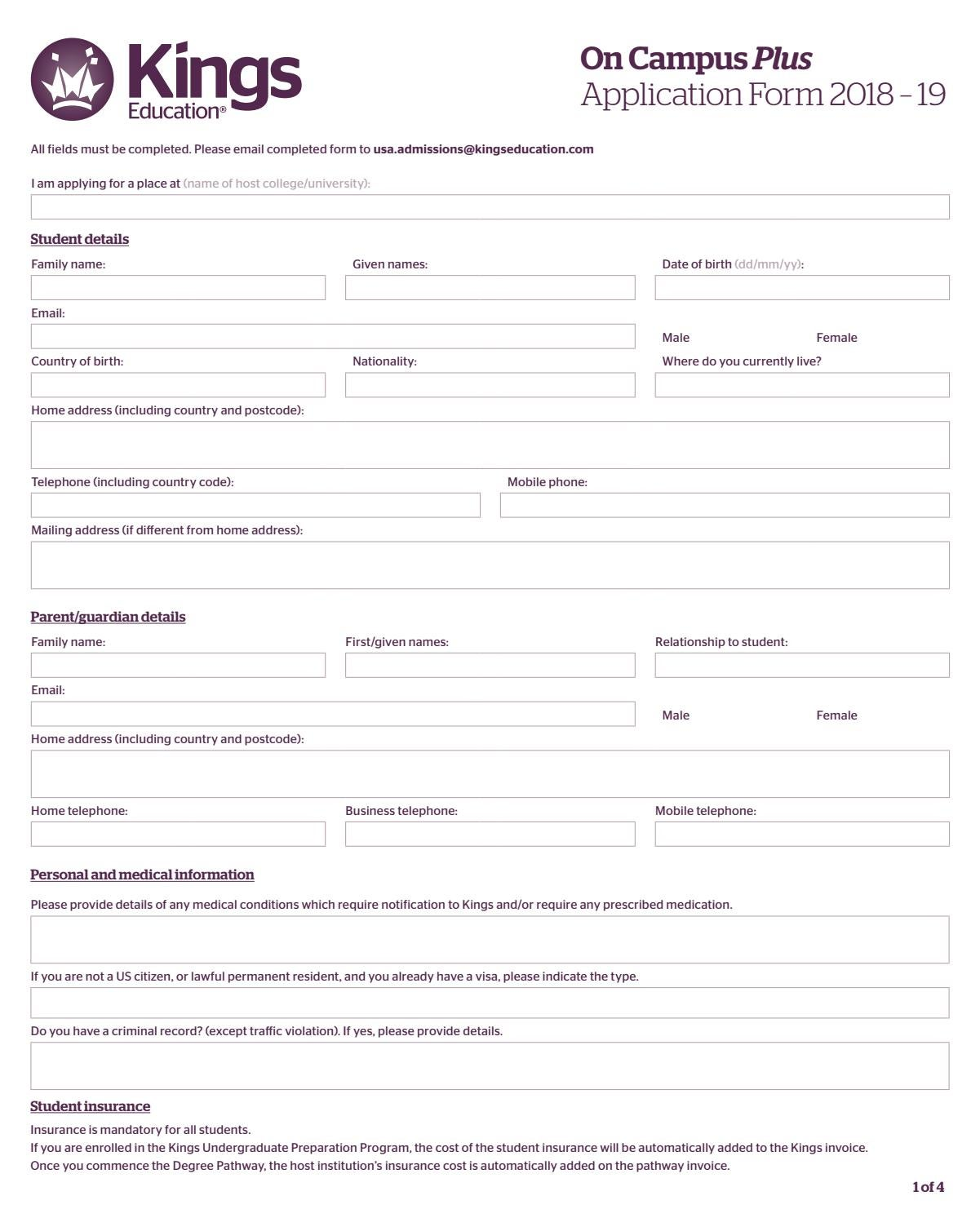 Kings Pathways US Application Form 2018–19 by Kings